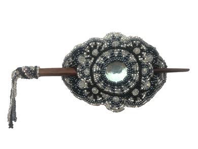 Barrette Crystal Oval w/ wooden rod in Black, Grey, & Silver
