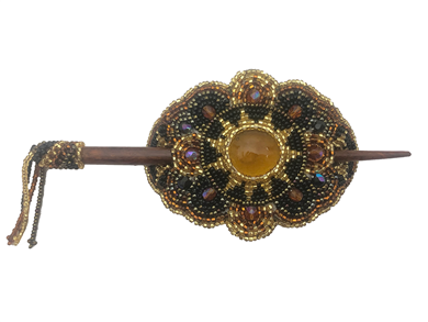 Barrette Crystal Oval w/ wooden rod in Gold, Amber & Black