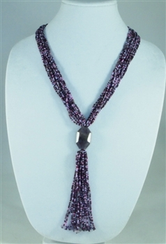 Boutique Line: Stone Tie Necklace - Pink/Grape