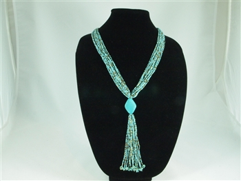 Boutique Line: Stone Tie Necklace - Turquoise