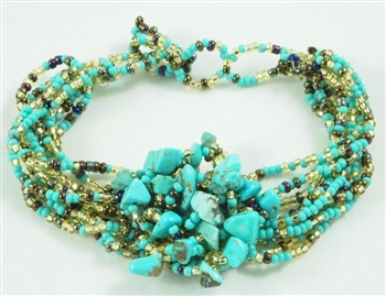 Boutique: Cluster Bracelet - Turquoise/Gold/Coffee