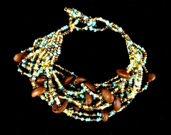 Bracelet - Roasted Coffee Beans Turquoise/Gold