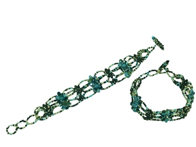 Bracelet 77 Crystals Gold & Turquoise