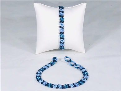 Bracelet - Flower Chain Periwinkle Blue/Aqua/Black