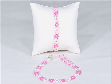 Bracelet - Flower Chain Pink/White