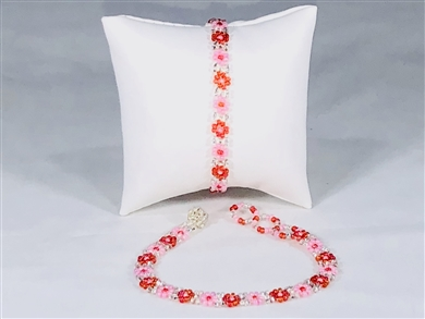 Bracelet - Flower Chain Orange/Pink/Silver