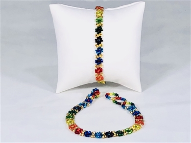 Bracelet - Flower Chain Rainbow/Gold