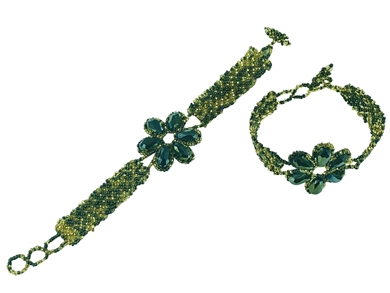 Bracelet - Crystal Petals Peacock Green & Gold