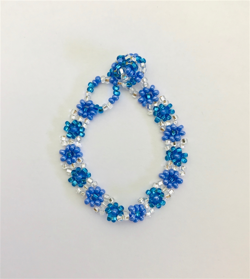 Bracelet - Flower Chain for 3-6 year olds Blue/Silver