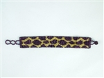 "Bracelet - 1"" Friendship Bracelet - Leopard/Grape/Gold"