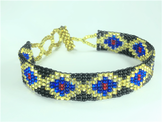 Friendship Bracelet, Gold/Blue, Loom