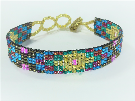 Friendship Bracelet, Mixed/Gold, Loom