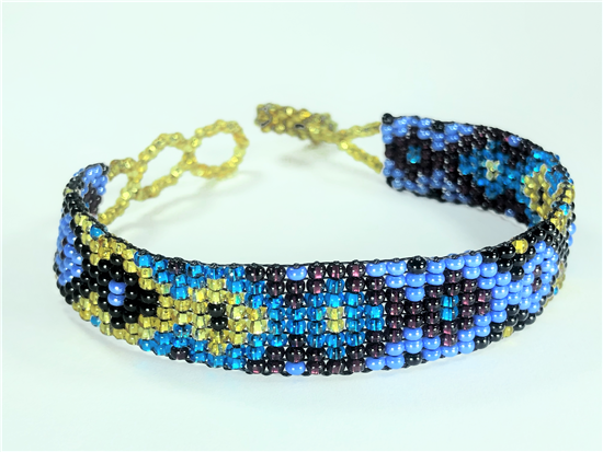 Friendship Bracelet, Blue/Gold, Loom