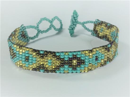 Friendship Bracelet, Aqua/Gold, Loom