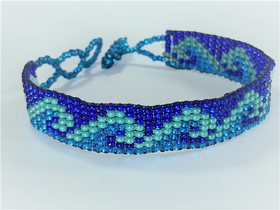 Friendship Bracelet, Blue/Mixed, Wave