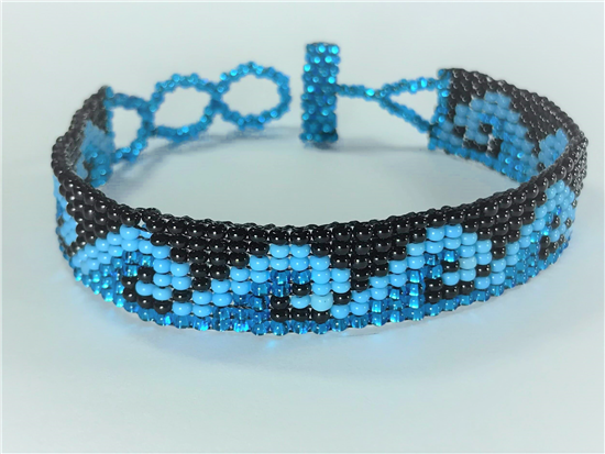 Friendship Bracelet, Blue/Black, Wave