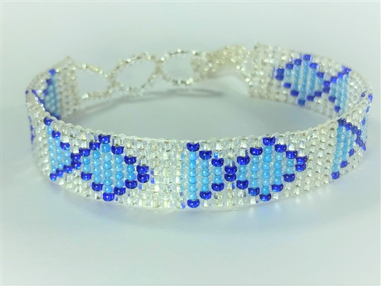 Friendship Bracelet, Blue/Silver, Fish