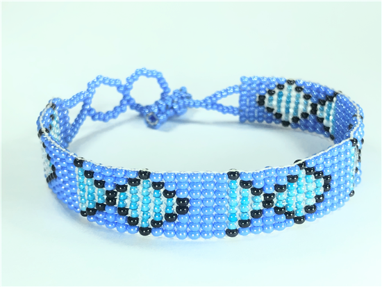 Friendship Bracelet, Blue/Black, Fish