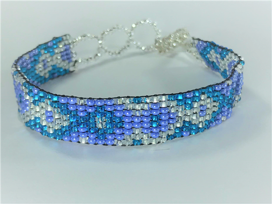 Friendship Bracelet, Blue/Silver, Loom