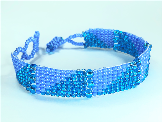 Friendship Bracelet, Turquoise/Blue, Panels
