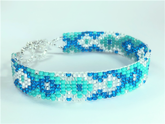 Friendship Bracelet, Turquoise/Blue, Loom