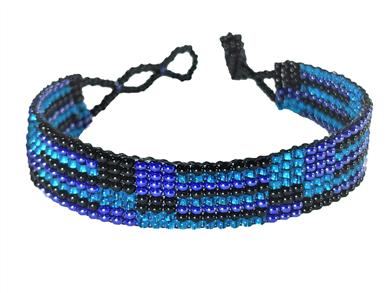 Friendship Bracelet, Turquoise/Black, Loom