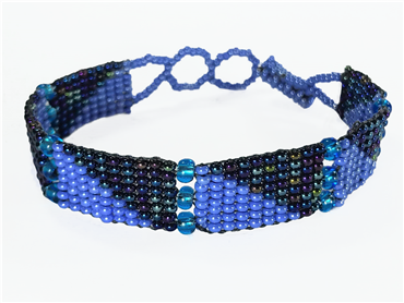 Friendship Bracelet, Blue/Blue Iridescent, Panels