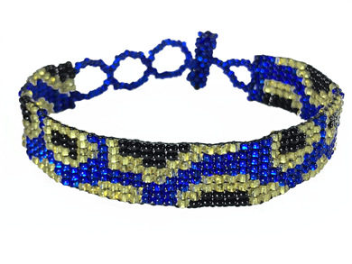 Friendship Bracelet, Blue/Gold, Leopard