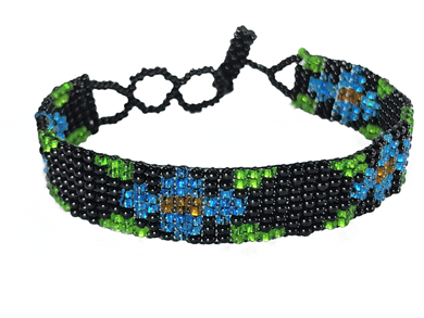 Friendship Bracelet, Black/Blue, Flower