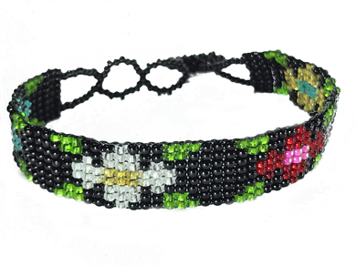 Friendship Bracelet, Black/Mixed, Flower