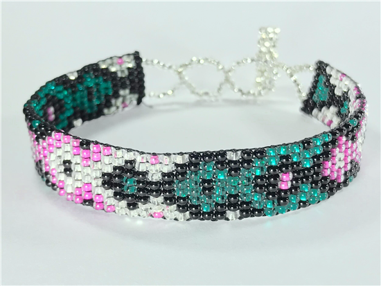 Friendship Bracelet, Pink/Emerald, Loom