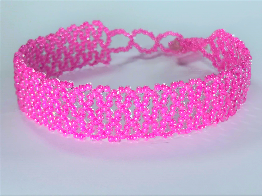 Friendship Bracelet, Pink, Lace