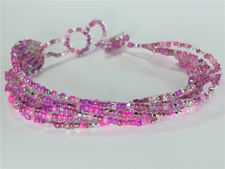 Friendship Bracelet, Pink/Silver, Strands