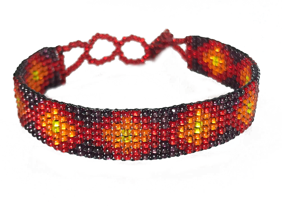 Friendship Bracelet, Red/Mixed, Loom