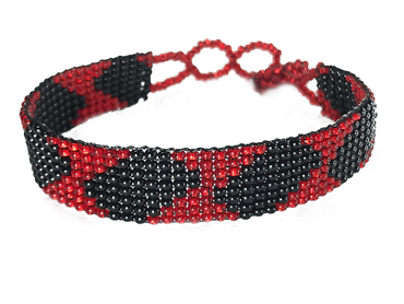 Friendship Bracelet, Red/Black, Loom