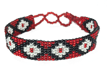 Friendship Bracelet, Red/Silver, Loom