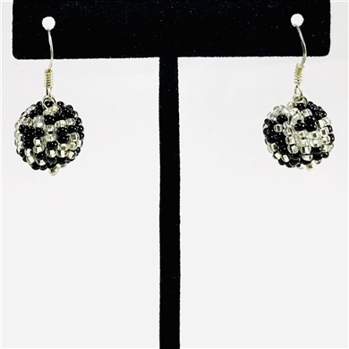 Tanya Earrings - Silver/Black