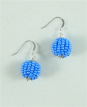 Earrings - Ball Periwinkle Blue
