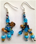 Earrings- Blue & Tan