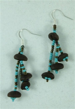 Earrings - Roasted Coffee Beans Turquoise/Coffee