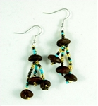 Earrings - Roasted Coffee Beans Turquoise/Coffee/Gold