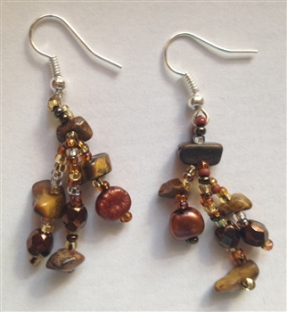 Earrings- Gold Bronze Dangle with pearls