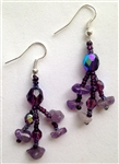 Earrings- Purple Crystals Dangle