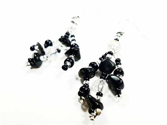 Easy Elegance Earrings - Silver/Black