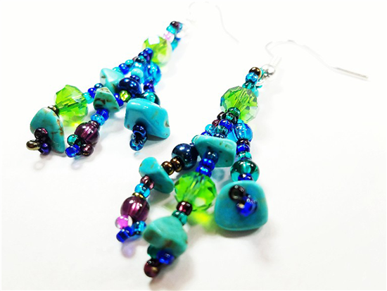 Easy Elegance Earrings - Turquoise/Grape/Blue