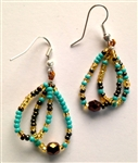 Earrings - Hoops Gold/Coffee/Turquoise