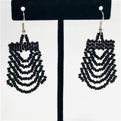 Earrings - Ripple - Black