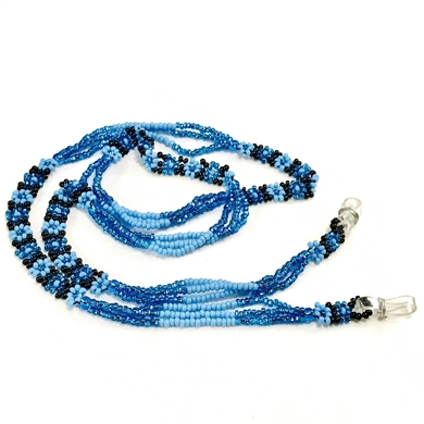 Eyeglass Chain - Blue, Turquoise, black Flowers with strands