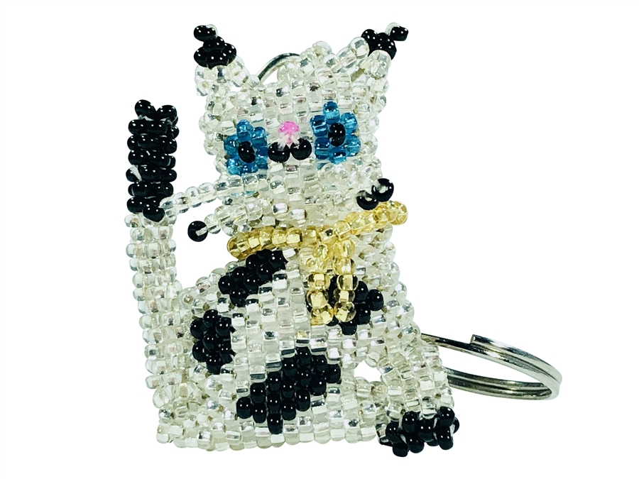 Keychain Charm - Cat - Silver with black spots