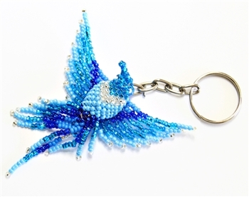 Keychain Charm - Hummingbird - Blues